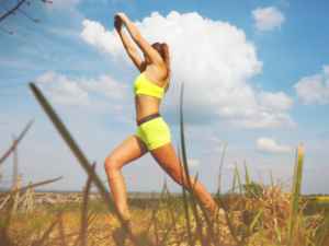 a woman exercising outdoor